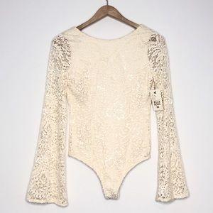 Billabong Cream Lace Scoop Back Bodysuit Medium